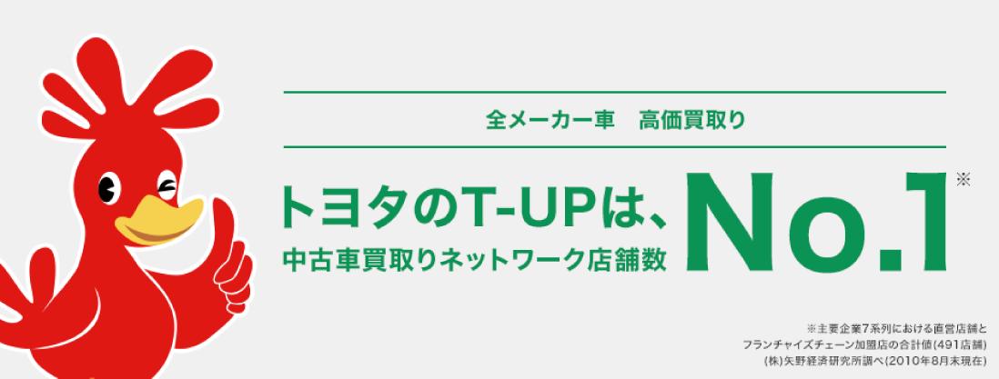 全メーカー車高価買取り トヨタのT-UPは、中古車買取りネットワーク店舗数No.1